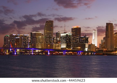Modern Buildings in Famous travel destination in Miami Beach Florida. Skyscrapers in Downtown at sunset.