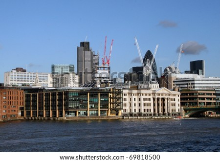 modern buildings in London - stock photo