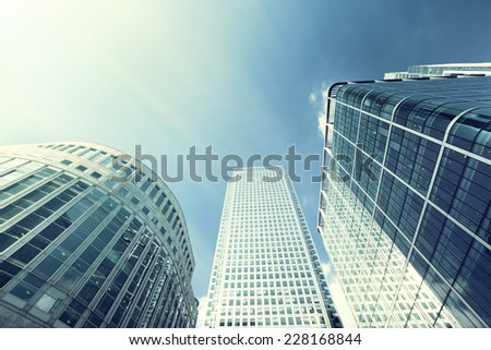 Modern buildings in London, Canary Wharf - stock photo
