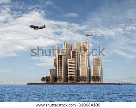 modern buildings on a smartphone island - stock photo