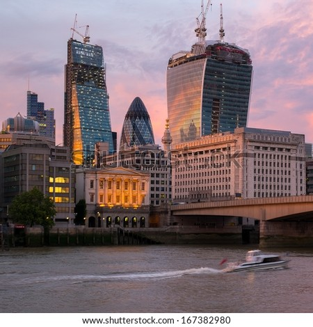 Modern buildings on a sunset in London, England - stock photo