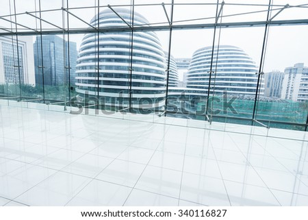 modern buildings through window