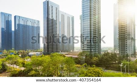 modern  buildings under sunlight - stock photo