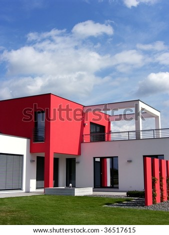modern bungalow - stock photo