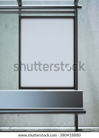 Modern bus station with blank billboard. 3d rendering - stock photo