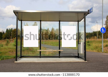 Modern Bus Stop shelter with two blank billboards for your advertisement.