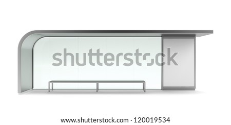Modern bus stop with blank banner. Front view - stock photo
