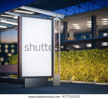 Modern bus stop with blank billboard near office building at night. 3d rendering