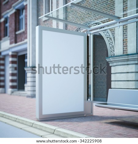 Modern bus stop with blank billboard near vintage building. - stock photo