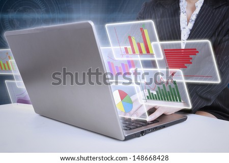 Modern business analysis with internet online on computer laptop - stock photo
