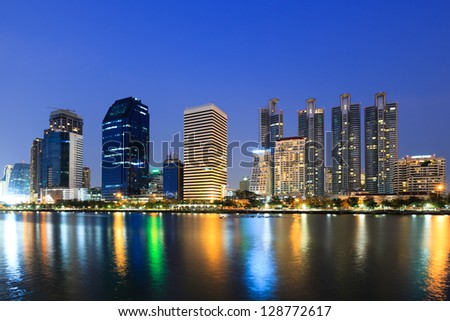 Modern business area at twilight in Bangkok, Thailand