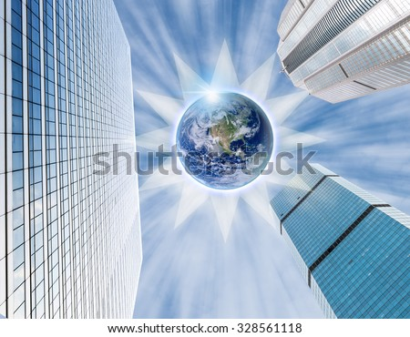 Modern business building glass of skyscrapers on blue sky background with earth and sun sign, Business concept of architecture, Elements of this image furnished by NASA - stock photo