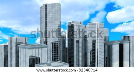 Modern Business Center (Hight Resolution 3D Image) - stock photo