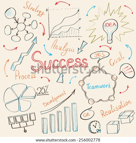 Modern business inspiration concept with hand drawn doodle icons, light bulb idea, diagram and graph.  - stock photo