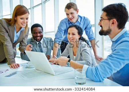 Modern business people discussing project at meeting - stock photo