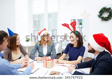 Modern business people working on Christmas day
