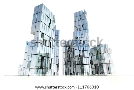 modern business skyscrapers city design concept in perspective view design rendering illustration - stock photo