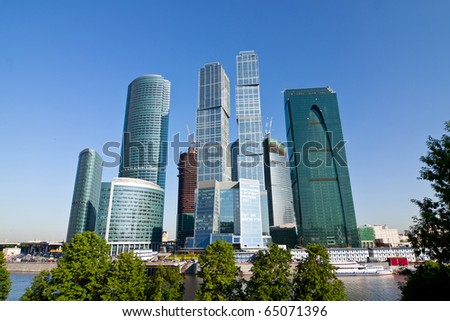 Modern business skyscrapers in Moscow city, Russia - stock photo