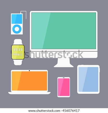 Modern business ui devices set - display, digital tablet, mobile devices, smart watch, music player, laptop. Stylish color design. Isolated on blue background.