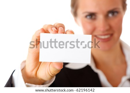 modern business woman holding blank business card