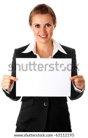 modern business woman holding empty white  paper