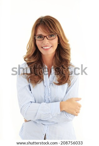 Modern business woman portrait in the office with copy space. White background.