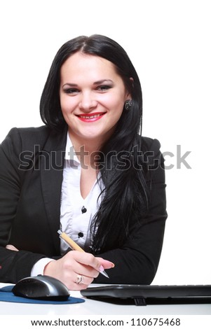 modern business woman sitting at office desk - stock photo