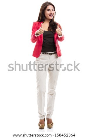 Modern business woman with thumbs up, isolated over a white background - stock photo