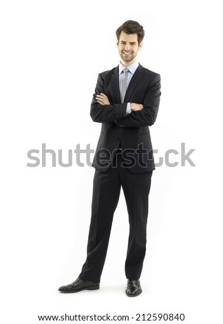 Modern businessman standing against white background. Business people.