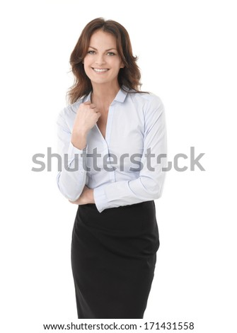 Modern Businesswoman Standing Against White Background  - stock photo