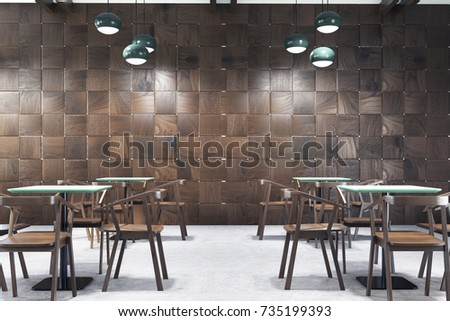 modern cafe interior with wooden walls a concrete floor square tables and wooden chairs - Concrete Cafe Interior