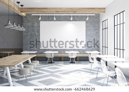 modern cafe interior with wooden walls and gray floor pattern tables and round chairs near - Large Cafe Interior