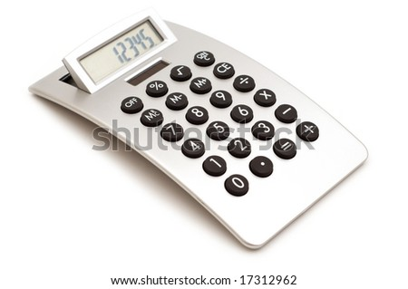 modern calculator on white background - stock photo