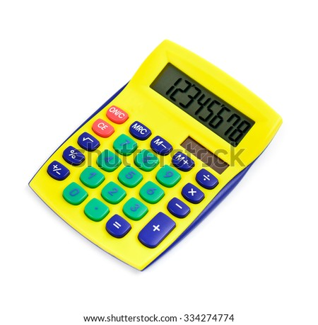 Modern calculator yellow colored isolated on white - stock photo