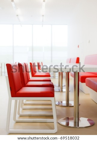 Modern canteen furniture - stock photo