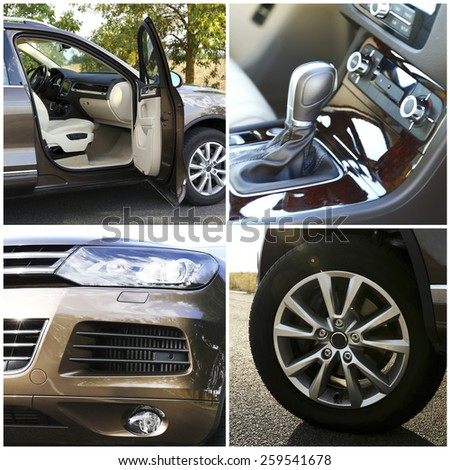 Modern car collage - stock photo