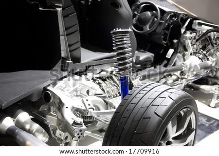Modern Car. Cut In Half. Inside View - stock photo