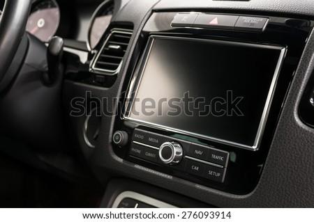Modern car dashboard. Screen multimedia system. - stock photo