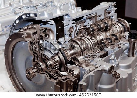 Modern car engine cross section close up view