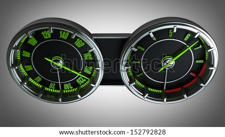Modern car illuminated dashboard High resolution 3d  - stock photo
