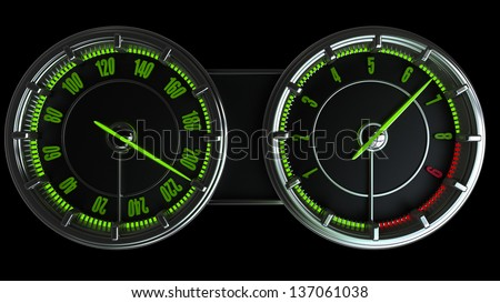 Modern car illuminated dashboard isolated on black background High resolution 3d - stock photo