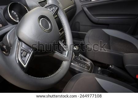 Modern car interior - stock photo
