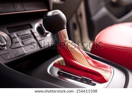 Modern car interior, close up photo - stock photo