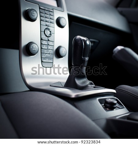 Modern car interior (color toned image) - stock photo
