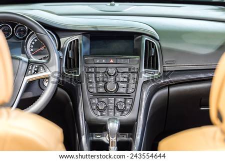 Modern Car Interior With Dashboard View - stock photo