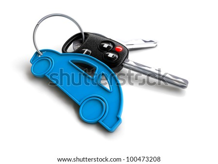 Modern car keys with blue car key ring isolated on white. Concept for owning or buying a new or pre-owned second hand car or car rentals, leasing a car or insuring your car. - stock photo