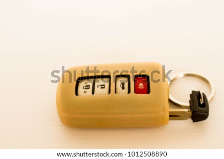 Modern car keys with remote control isolated background