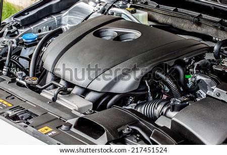 modern car's gasoline engine - stock photo