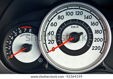 modern car speed meter, racing style - stock photo