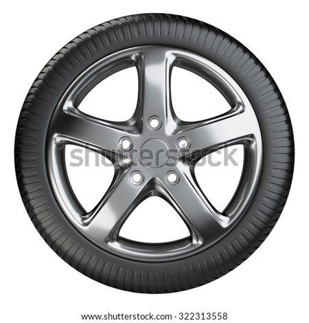 Modern car wheel front view isolated on a white background. 3d illustration high resolution - stock photo